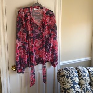 New York and Company pink and grey blouse-XL